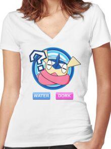 Water / Dork Women's Fitted V-Neck T-Shirt