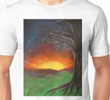 Sunset Glowing Beyond the Bare Tree Landscape Painting Unisex T-Shirt
