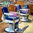 Two Barber Chairs With Pink Striped Barber Capes by Susan Savad