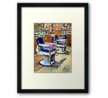 Two Barber Chairs With Pink Striped Barber Capes Framed Print