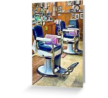 Two Barber Chairs With Pink Striped Barber Capes Greeting Card