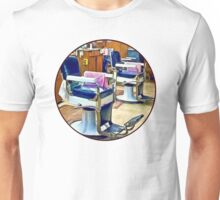 Two Barber Chairs With Pink Striped Barber Capes T-Shirt