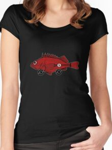 Racing fish - red on black Women's Fitted Scoop T-Shirt