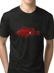 Racing fish - red on black Tri-blend T-Shirt