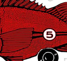 Racing fish - red on black Sticker