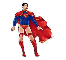 Superman dressed as Supergirl Photographic Print