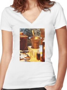 Brass Mortar And Pestle Women's Fitted V-Neck T-Shirt