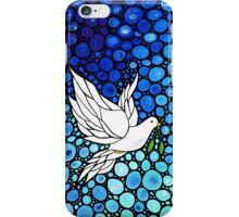 Peacefull Journey - White Dove Print Blue Mosaic Art iPhone Case/Skin