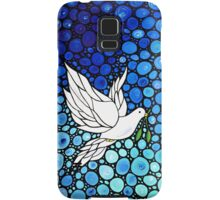 Peacefull Journey - White Dove Print Blue Mosaic Art Samsung Galaxy Case/Skin