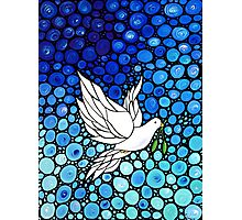 Peacefull Journey - White Dove Print Blue Mosaic Art Photographic Print