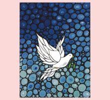 Peacefull Journey - White Dove Print Blue Mosaic Art Kids Clothes