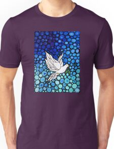 Peacefull Journey - White Dove Print Blue Mosaic Art Unisex T-Shirt