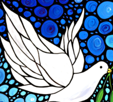 Peacefull Journey - White Dove Print Blue Mosaic Art Sticker