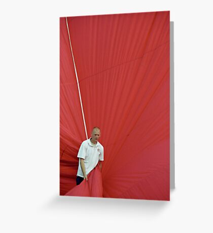 Hot air: Man in red Greeting Card