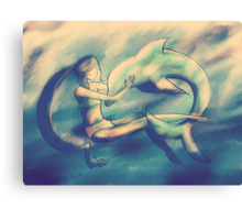 In The Dolphin Tank Canvas Print