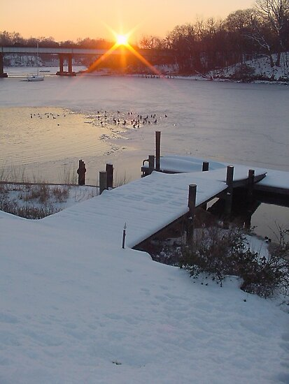 Annapolis, Maryland Sunset in the Snow by Travis Hammond