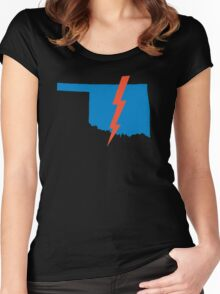 Thunder Up Oklahoma Women's Fitted Scoop T-Shirt
