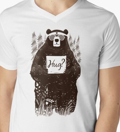 Free Bear Hugs Mens V-Neck T-Shirt