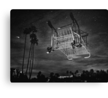 Inverted Reflection of Submerged Shopping Cart in Lake Canvas Print