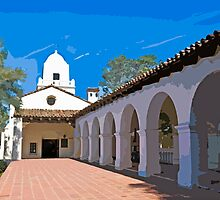 Stylized photo of the Serra Mission building at the Presideo in San Diego, CA US. by NaturaLight
