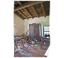 Stylized photo of sewing room in the adobe mansion La Casa de Estudillo in Old Town San Diego. Poster