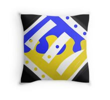 Blue, yellow, black and white, modern,  ABSTRACT Throw Pillow