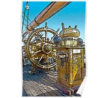 Stylized photo of the Tall Ship Star of India ship's  wheel Poster