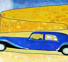 Blue car on the winding road by Justin Fagence