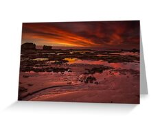 Evening Fire, Fingal Beach Greeting Card
