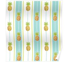 Glitter Tropical Pineapple with Stripes and Dots Poster