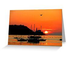 Sunset in Piran Greeting Card