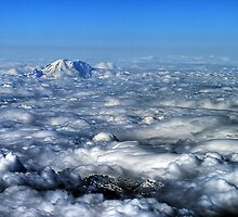 Looking Down at Mount Ranier by sfield