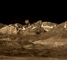 Owens Valley at Moon Set IR by Jim Sells