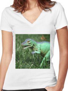 Jurassic Yard  Women's Fitted V-Neck T-Shirt