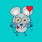 Funny gray mouse holding a heart balloon and feeling in love by Zoo-co