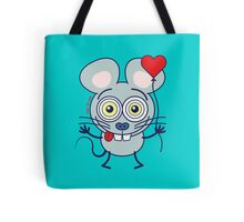 Funny gray mouse holding a heart balloon and feeling in love Tote Bag