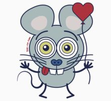 Funny gray mouse holding a heart balloon and feeling in love Kids Clothes