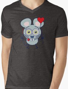 Funny gray mouse holding a heart balloon and feeling in love Mens V-Neck T-Shirt