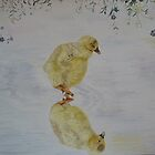 REFLECTION of a GOSLING - water color by Marilyn Grimble