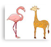 flamingo bird and giraffe Canvas Print