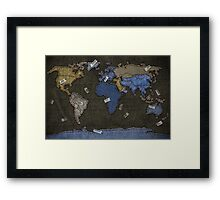 Jeans World Map Framed Print