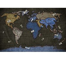 Jeans World Map Photographic Print
