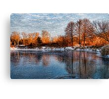 Cold Ice, Warm Light – Lake Ontario Impressions Canvas Print