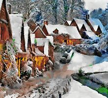 Snow covered cottages in Bibury by ColorfulW