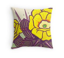 Prickly Pear Blossoms Throw Pillow