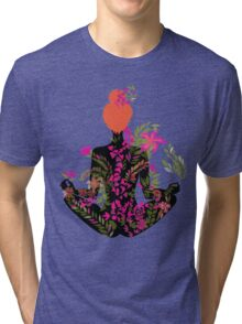 flower meditation in pink and purple Tri-blend T-Shirt