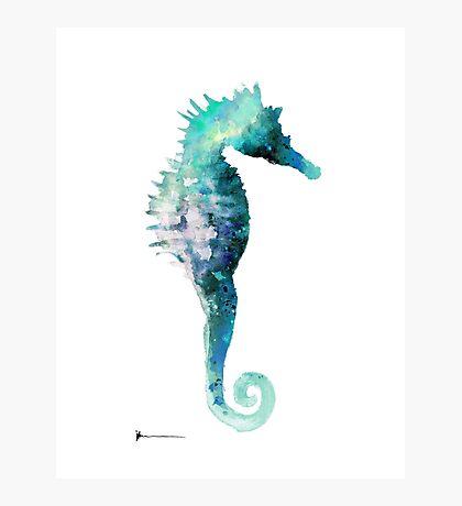 Blue seahorse watercolor art print painting Photographic Print
