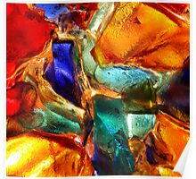 Closeup of back lit stained abstract glass pattern Poster