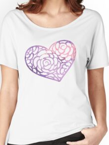 Heart from paper Valentines day card vector background Women's Relaxed Fit T-Shirt