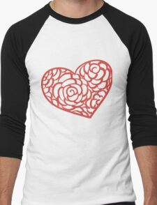 Heart from paper Valentines day card vector background Men's Baseball ¾ T-Shirt